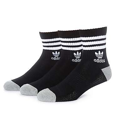 adidas High Roller Black & White 3 Pack Quarter Socks