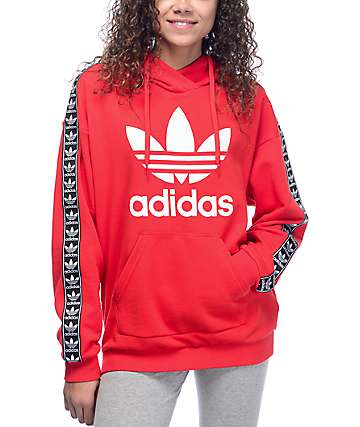 adidas Jacquard Sleeve Trefoil Red Womens Hoodie