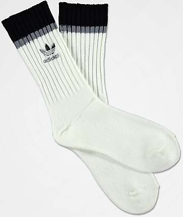adidas Loose Fit Off White & Black Crew Socks