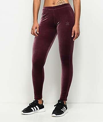 adidas Maroon Velvet Leggings