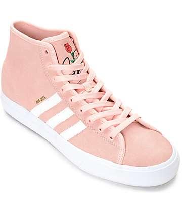 adidas Matchcourt Hi RX Pink & White Suede Shoes