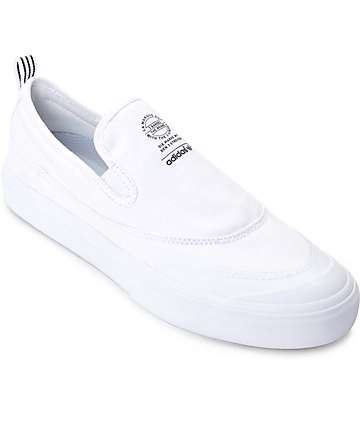 adidas Matchcourt White Monochrome Slip On Skate Shoe
