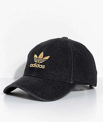 adidas Men's Trefoil Black Denim Strapback Hat
