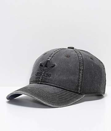adidas Original Relaxed Washed Black Strapback Hat
