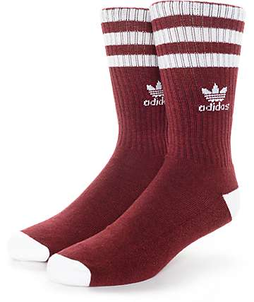 adidas Original Roller Burgundy & White Crew Socks