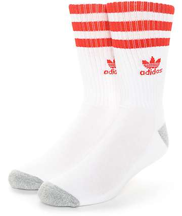 adidas Original Roller White & Red Crew Socks