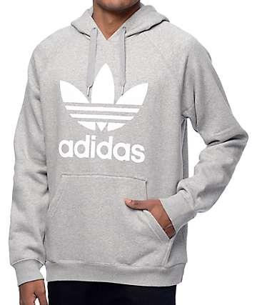adidas Originals Trefoil sudadera gris con capucha