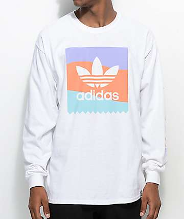 adidas Pastel Blackbird White Long Sleeve T-Shirt