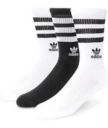 adidas Roller Black & White Crew Socks 3 Pack (Womens)