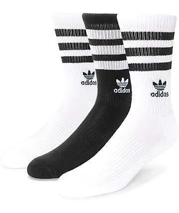 adidas Roller Black & White Crew Socks 3 Pack