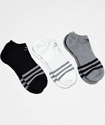 adidas Roller Grey, Black & White 3-Pack No Show Socks