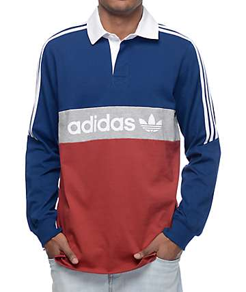 adidas Rugby Nautical Navy & Red Long Sleeve Knit Shirt