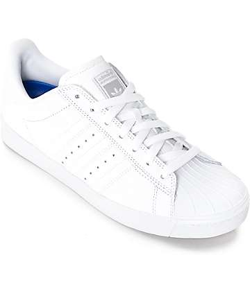 adidas Superstar Vulc ADV All White Shoes (Womens)