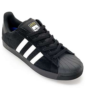 adidas Superstar Vulc ADV Black Suede & White Shoes