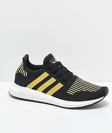 adidas Swift Run Black & Gold Shoes