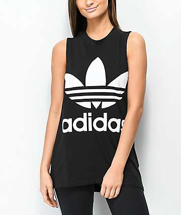 adidas Trefoil Black Tank Top