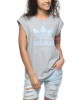 adidas Trefoil Cuffed Grey Boyfriend T-Shirt