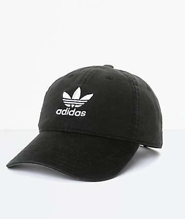 adidas Trefoil Curved Bill Black Strapback Hat