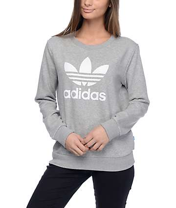 adidas Trefoil Heather Grey Crew Sweatshirt