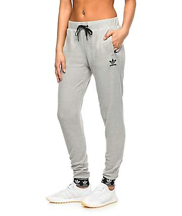 adidas Trefoil Pique Cuff Grey Jogger Sweatpants