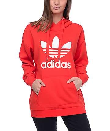 adidas Trefoil Red Hoodie