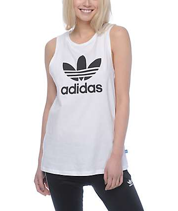 adidas Trefoil White Loose Tank Top
