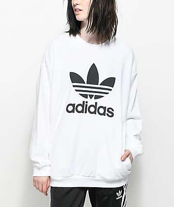 adidas Trefoil White Oversized Crew Neck Sweatshirt
