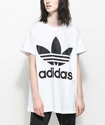 adidas Trefoil camiseta extra grande en blanco y negro