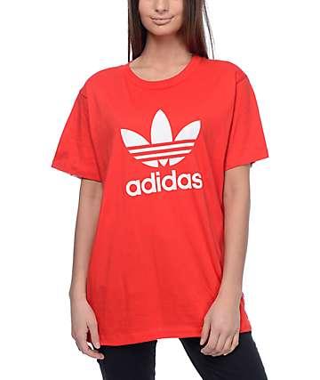 adidas Trefoil camiseta roja con espalda impreso