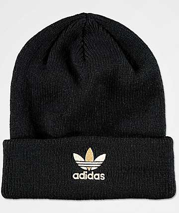 adidas Women's Black & Gold Foil Beanie