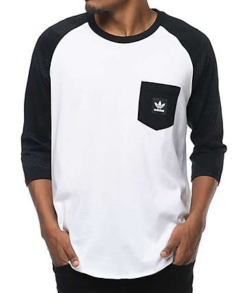 adidas Word Camo White & Black Baseball T-Shirt