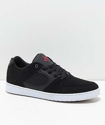 eS Accel Slim Black, Red & White Nubuck Skate Shoes