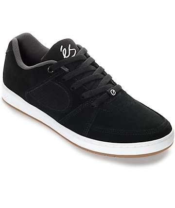 eS Accel Slim Black & White Suede Skate Shoes