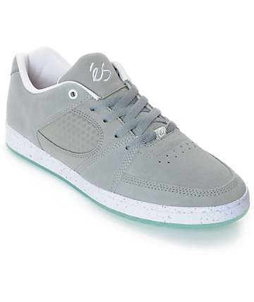 eS Accel Slim Grey, White & Ice Suede Skate Shoes