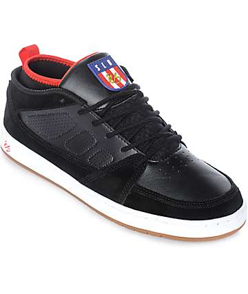 eS SLB Mid Black & White Suede & Leather Skate Shoes