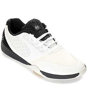 eS Sesla White & Black Skate Shoes