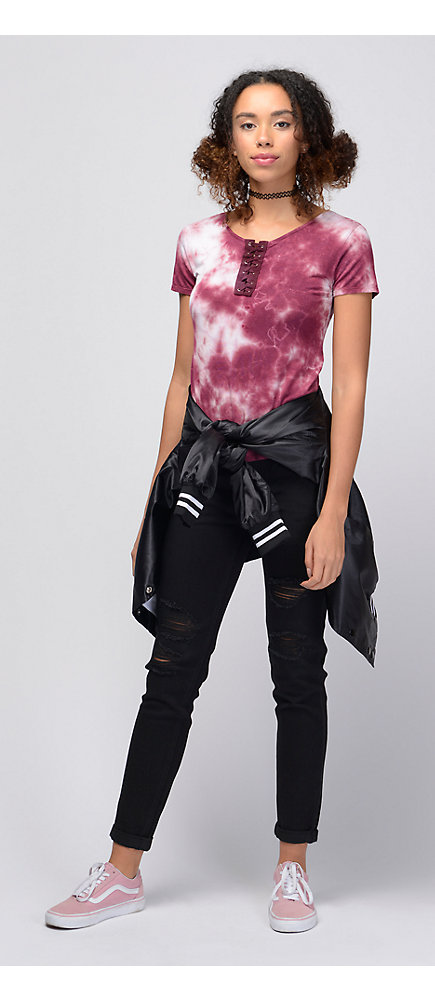 Outfits 2 lace up tie dye top with distressed jeans and pink vans lace up tie dye top with distressed jeans and pink vans ccuart Images
