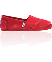 ON SALE Toms Classics Red Stonewash Canvas Girls Shoe