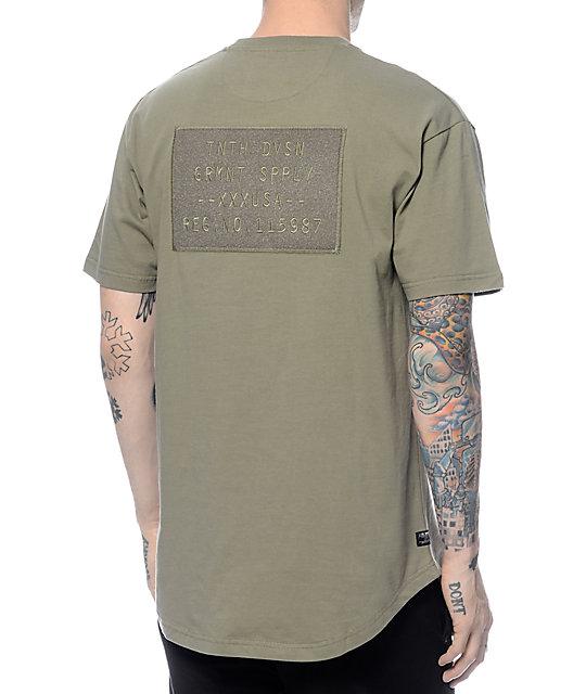 10 Deep AWOL Scoop Bottom Army Green T-Shirt
