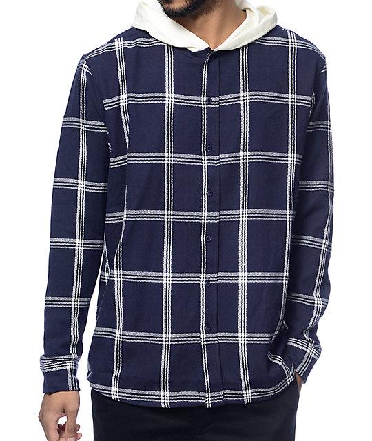 10 Deep CB's Navy Hooded Flannel Shirt