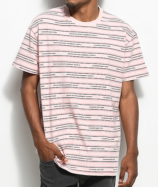 10 Deep Garment Supply Stripe Pink T-Shirt
