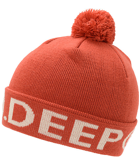 10 Deep Lower Third Red Pom Cuff Beanie