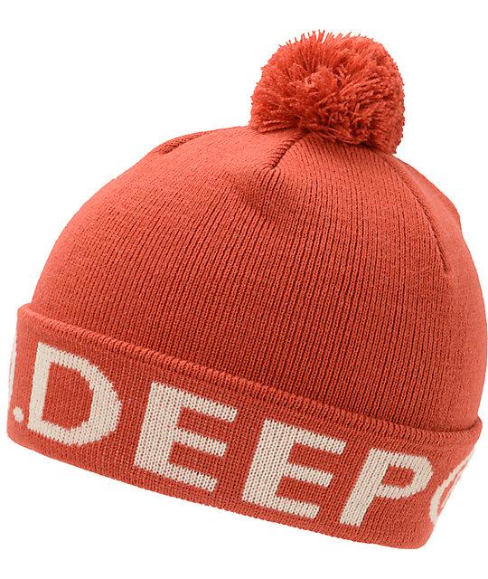 10 Deep Lower Third Red Pom Fold Beanie