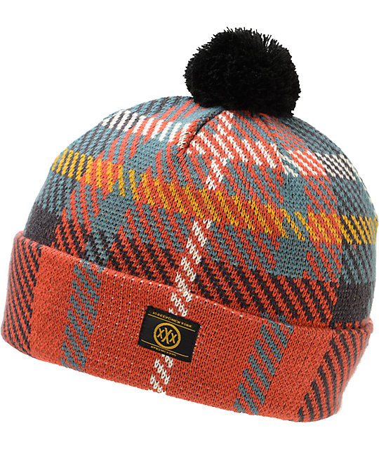 10 Deep McCloud Red Pom Cuff Beanie