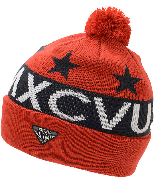 10 Deep Numerals Red Pom Fold Beanie