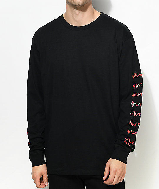 4 Hunnid Hit Up Arms Black Long Sleeve T Shirt Zumiez