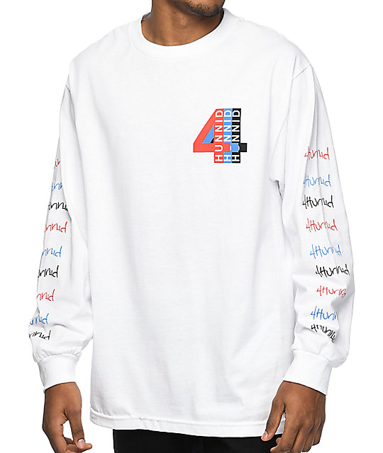 4 Hunnid Logo White Long Sleeve T-Shirt | Zumiez