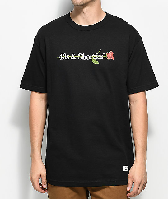 40s &Amp; Shorties 40s Text Logo Rose Black T Shirt by 40 S And Shorties