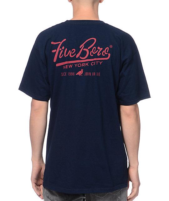 5BORO Shaolin Island Navy Blue T-Shirt
