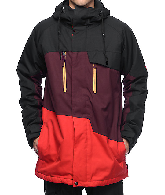 686 Authentic Geo Red Colorblock 10K Snowboard Jacket
